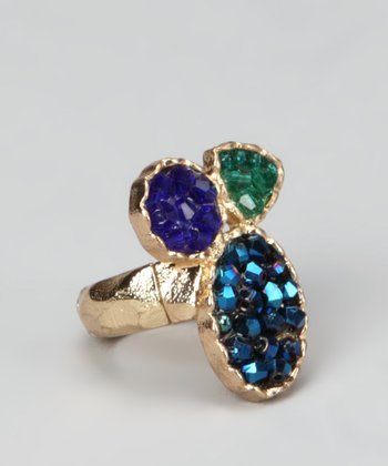 Royal Blue & Gold Crystal Trio Ring