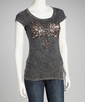 Gray Embellished Tee