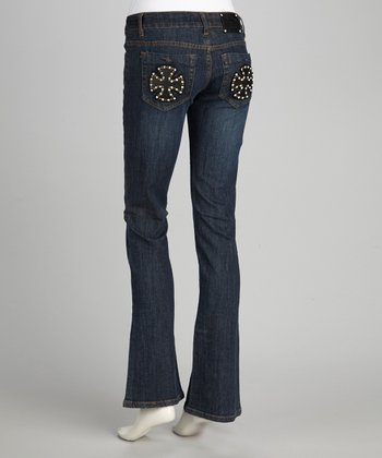 Blue Iron Cross Rhinestone Bootcut Jeans
