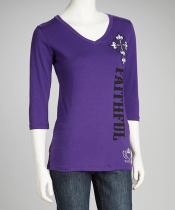 Purple Rhinestone 'Faithful' Cross Tee - Women & Plus