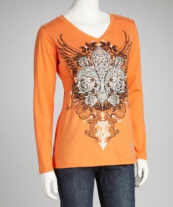 Orange Fleur-de-Lis Rhinestone Tee - Women