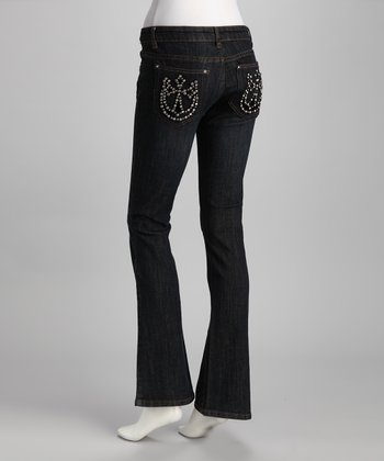 Blue Horseshoe Cross Bootcut Jeans