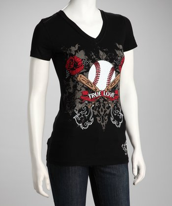 Black 'True Love Baseball' Tee