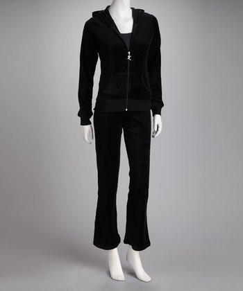 Black Velour Zip-Up Hoodie & Pants - Women