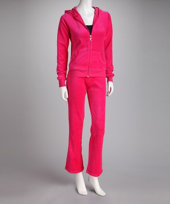 Hot Pink Velour Zip-Up Hoodie & Pants - Women