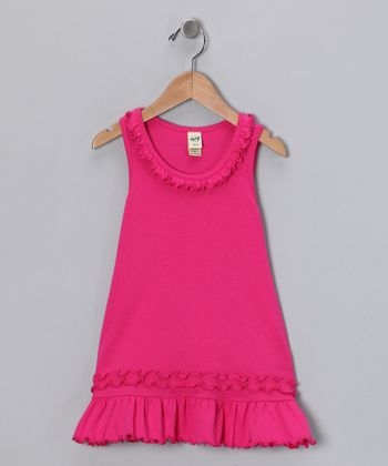 Hot Pink Lettuce-Edge Dress - Infant
