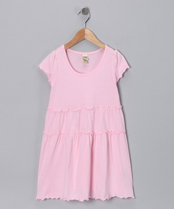 Baby Pink Tiered Lettuce-Edge Dress - Toddler & Girls