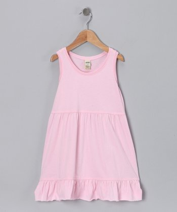 Baby Pink Ruffle Raw-Edge Dress - Infant
