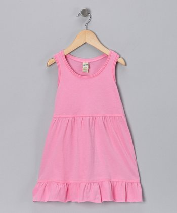 Bubblegum Pink Ruffle Raw-Edge Dress - Toddler & Girls