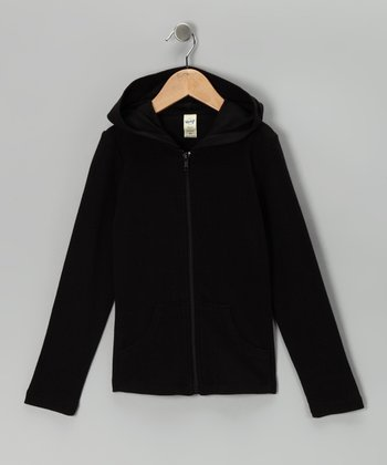 Black Zip-Up Hoodie - Toddler & Girls