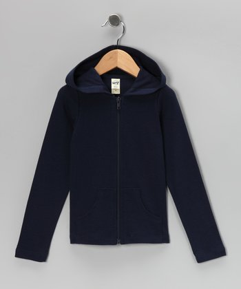 Navy Zip-Up Hoodie - Girls