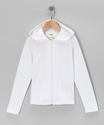 White Zip-Up Hoodie - Toddler & Girls