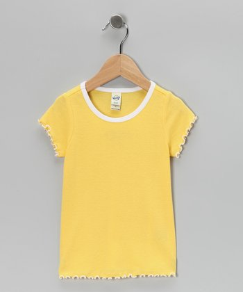 Yellow Lettuce-Edge Tee - Toddler & Girls