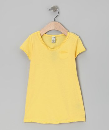 Yellow Raw-Edge Pocket Tee - Toddler & Girls