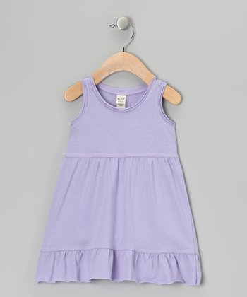 Lavender Ruffle Raw-Edge Swing Dress - Toddler & Girls