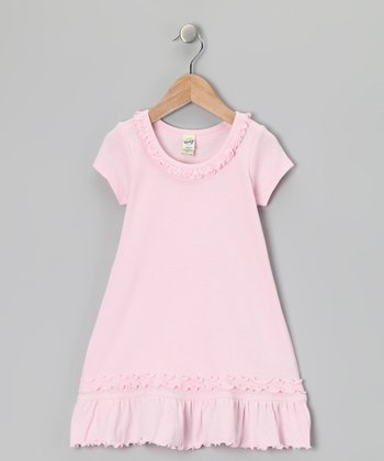 Pink Sunflower Cap-Sleeve Dress - Toddler & Girls