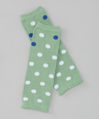 Green & Blue Polka Dot Leg Warmers