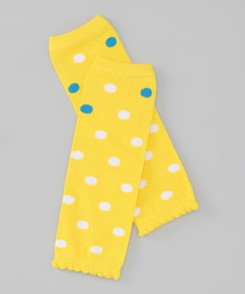 Yellow & Blue Polka Dot Leg Warmers