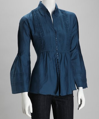 Blue Pin Tuck Silk-Blend Button-Up Top