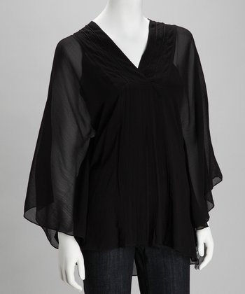 Black Sheer Cape-Sleeve Top
