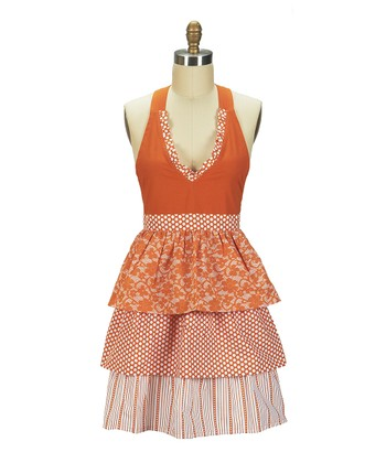 Orange Frill Juliette Apron - Women