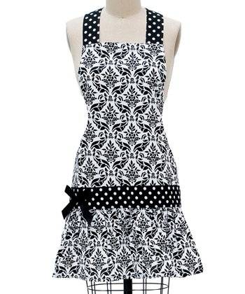 Black & White Damask Apron - Women