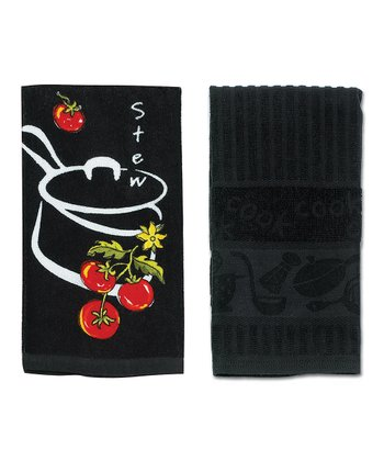 Black Cook Jacquard & Stew Dish Towel Set