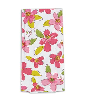Pink Floral Flour Sack Towel - Set of Two