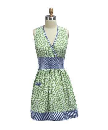 Indigo Floral Shirred Apron - Women