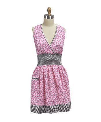 Flamingo Floral Shirred Apron