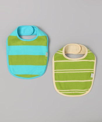 Turquoise & Green Stripe Organic Bib Set