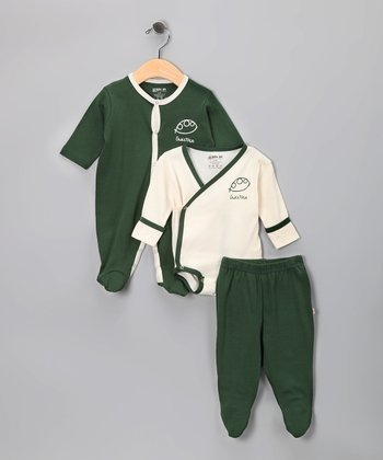 Green Sweet Pea Organic Footie Set - Infant