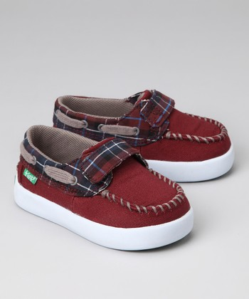 Maroon Blanket Plaid Boat Shoe