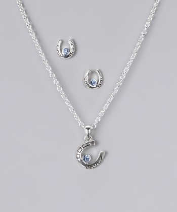 Blue Rhinestone Horseshoe Necklace & Earring