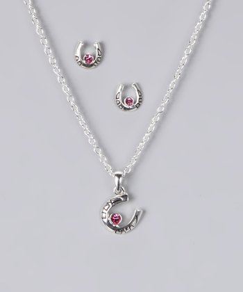 Pink Rhinestone Horseshoe Necklace & Earring