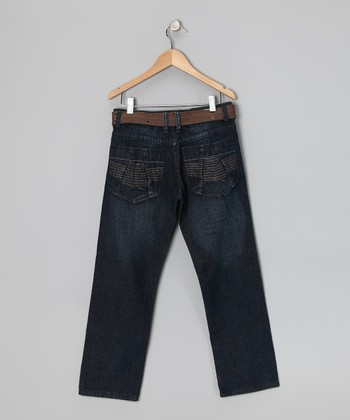 Dark Vintage Fashion Straight-Leg Jeans