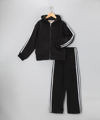 Black & White Fleece Zip-Up Hoodie & Track Pants - Boys