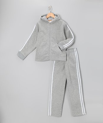 Heather & White Fleece Zip-Up Hoodie & Track Pants - Boys
