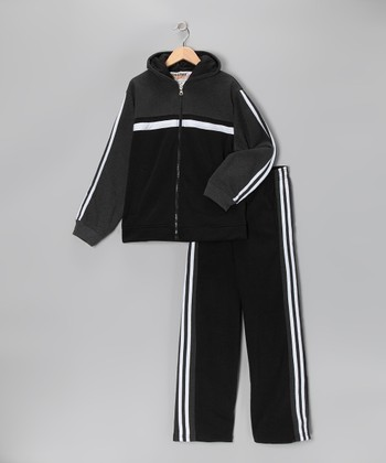 Black & White Stripe Fleece Zip-Up Hoodie & Track Pants - Boys