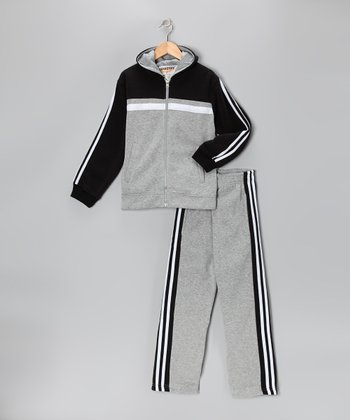 Heather & Black Stripe Fleece Zip-Up Hoodie & Track Pants - Boys