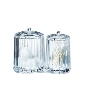 Clear Fluted Cotton Ball & Cotton Swab Holder