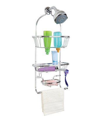 Chrome Hammered Wire Three-Tier Shower Caddy