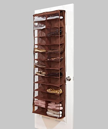 Chocolate 26-Pocket Over-Door Shoe Organizer