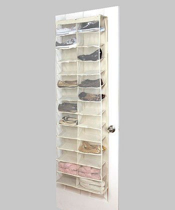 Cream 26-Pocket Over-Door Shoe Organizer