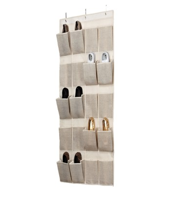 Burlap Delancy 20-Pocket Over-Door Shoe Organizer