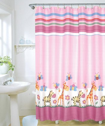 Giraffe & Zebra Shower Curtain & Hook Set