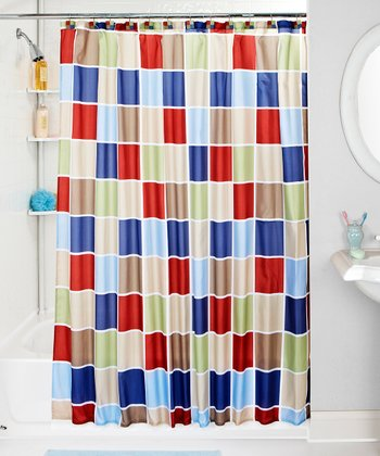 Red & Blue Tile Shower Curtain