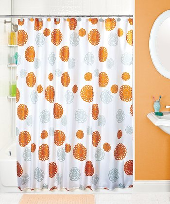 Orange & Gray Floral Shower Curtain