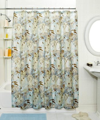 Blue Leaf Shower Curtain & Hook Set