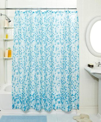 Blue Mosaic Shower Curtain & Hook Set